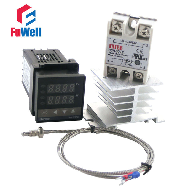 (Short Version 86x48x48mm) REX-C100FK02-V*AN PID Temperature Controller + Solid State Relay and Type K Thermocouple + Heat Sink