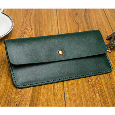 Simple Cowhide genuine leather Women wallet 2016 fresh ultra-thin design Envelope long wallet multi card holder Student purse W4