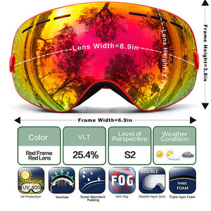 Ski Goggles Winter Snow Sports Snowboard Goggles with Anti-fog UV Protection for Men Women Youth Snowmobile Skiing Skating