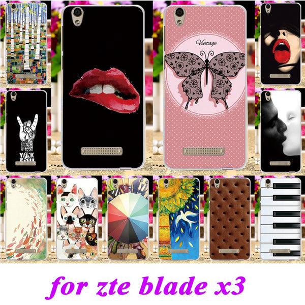 Soft Silicon TPU Phone Covers Cases For ZTE Blade X3 D2 T620 5 inch Cases Multi Art Painted Shield Durable Shell back cover