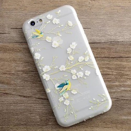 Soft TPU 3D Reliefs Plants Leaves Case For iphone 6 Case For iphone 6S 6 PLus Clear Phone Cases Cartoon Flowers Fruit Back Cover