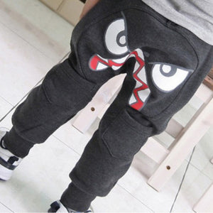 Special Bird Pattern Kids Toddler Boys Cotton Mid Elastic Harlan Pants Trousers Gray Black