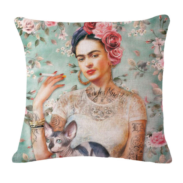 "Square 18"" Cushion Cover Frida Kahlo Colorful Flowers Pillowcase Woven Pillow Covers Polyester&Linen Home Decor Drop Shipping"