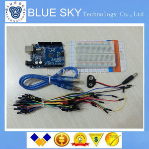 Starter Kit for arduino Uno R3 - Bundle of 5 Items: Uno R3 Breadboard Jumper Wires USB Cable and 9V Battery Connector