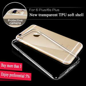 Super Slim TPU Case For iPhone 5 5S SE 6 6S 7 Plus Transparent Crystal Back Cover Protect Skin Rubber Silicone Gel Phone Cases
