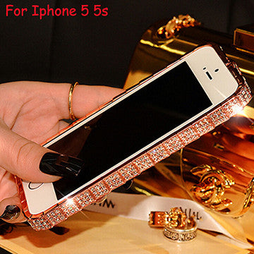 TIKITAKA Fashion Luxury Glitter Bling Diamond Crystal Snake Inlay Metal Rhinestone Bumper phone case for iPhone 5 5S 6 6S Plus