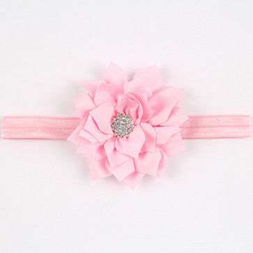 TWDVS Newborn Baby Infant Elastic Feather Headbands Baby Hair Bands Flower Accessories Rhinestone Photographic Props w--023