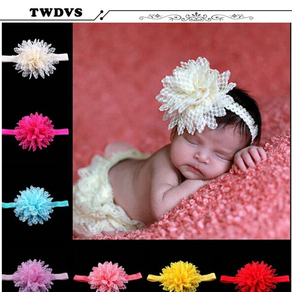 TWDVS Wholesale Infant Headbands Shabby Flowers Hair Bands Pearl Flowers Baby Headband Girls hair Accessories w42