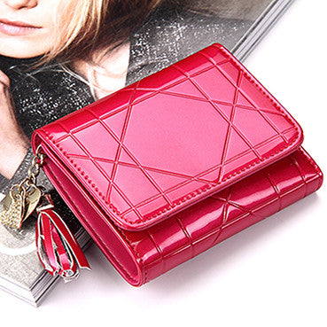 Sendefn Geometric Patent Leather Wallet Women 8103