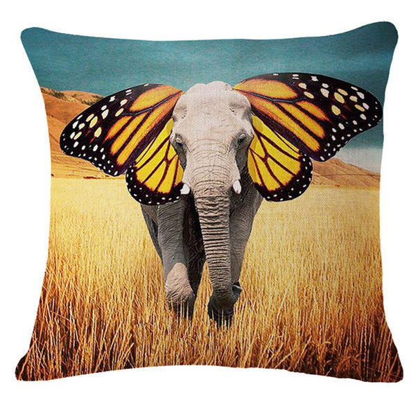 The elephant series Style 45*45cm Square Home Decorative Pillow Music Note Printed Throw Pillows Car Home Decor Cushion Cojines