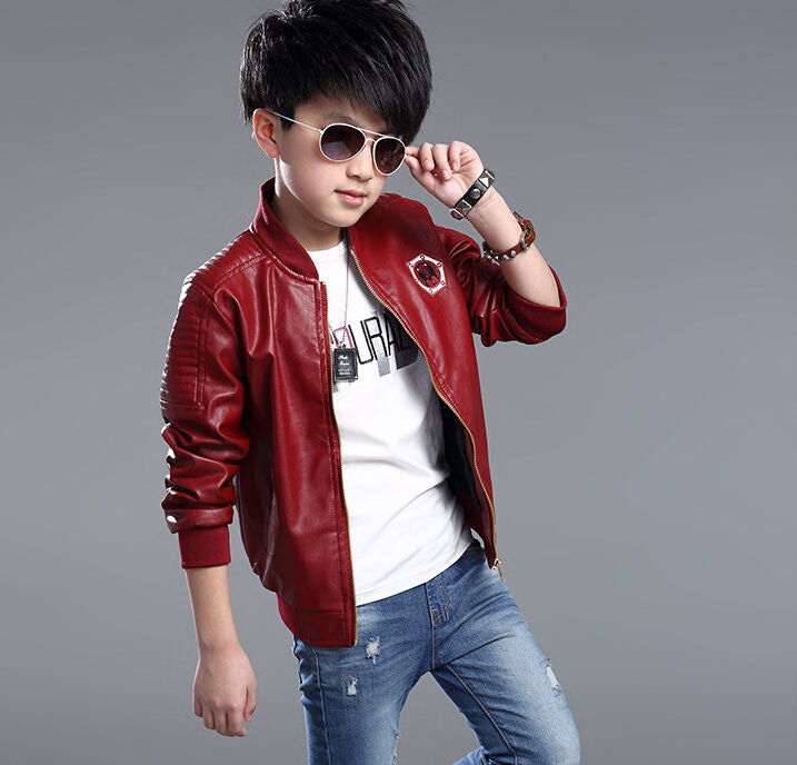 baa5bb5f0 Top Quality Spring Leather Boys Jacket And Coat Waterproof Fashion ...
