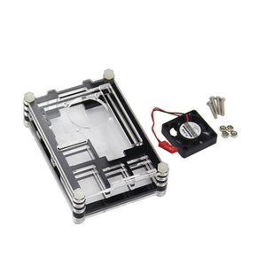 Transparent Acrylic Case Protective Shell Cover Box with Mini Cooling Fan for Raspberry Pi 2 3 Model B and B+ (B Plus) Board