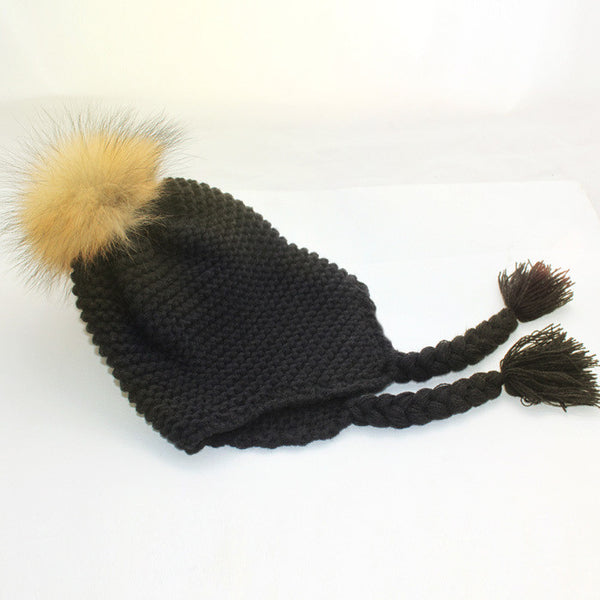 Unique Design Girls Fur Pom Poms Winter Hat Wool Knitted Bomber Hat Crochet Baby Hats Baby Products Beanie Apparel Accessories
