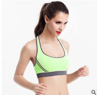 Vertvie Sports Bra Patchwork Back Cross Padded Push Up Bra Breathable Seamless Crop Top Stretch Athletic Gym Vest Women Fitness