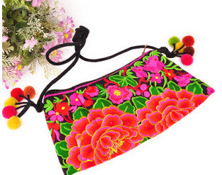 Vintage Embroidery Flowers Floral Cotton Fabric Handbags Women 688