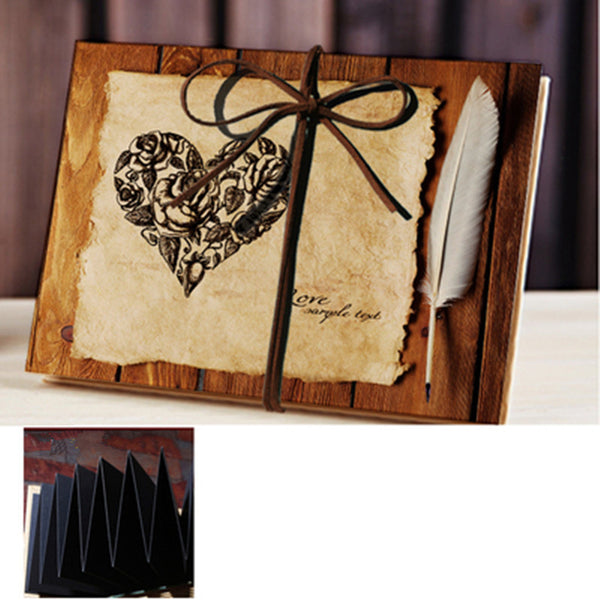 Vintage Heart Rose Feather Accordion Wedding Photo Album 7 Inch Scrapbooking Sticky DIY Memorial Picture Albums