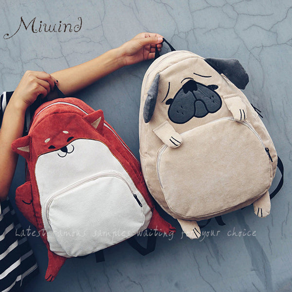 Miwind Appliques Animal Prints Corduroy Backpacks Women Kb19