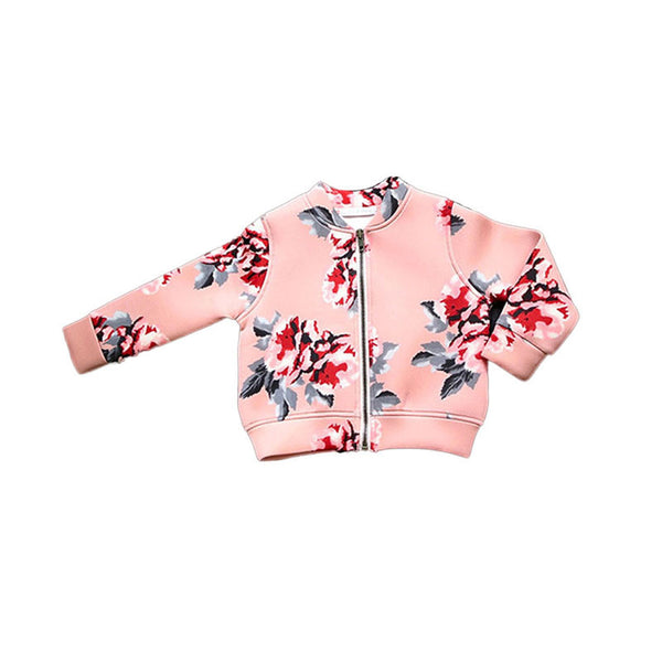 Wholesale Stylish Floral Fall Coat Girl Zipper Jacket Toddler Children Baby Sweatshirt