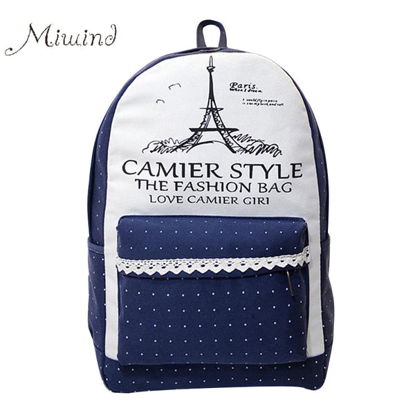 Miwind Letter Patchwork Canvas Backpacks Women Bg220
