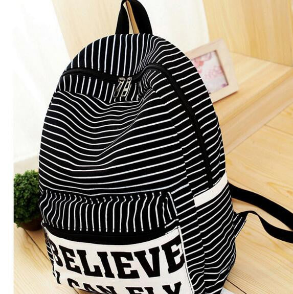 Miwind Letter Striped Canvas Backpacks Women Bg368