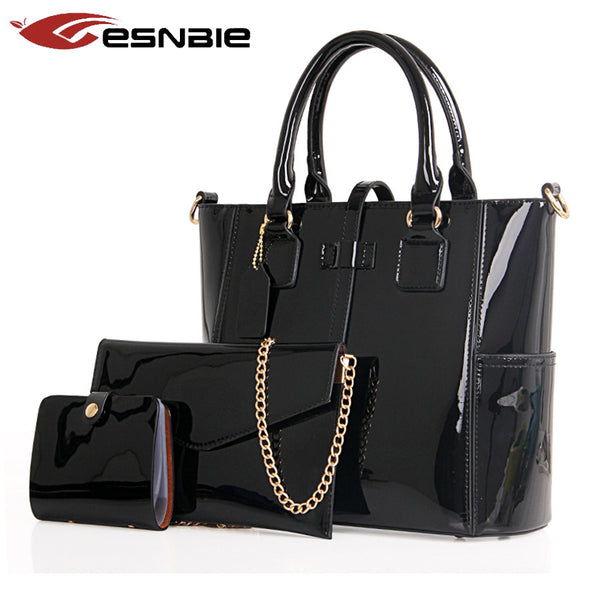 Esnbie Solid Patent Leather Handbags Women Tkb009