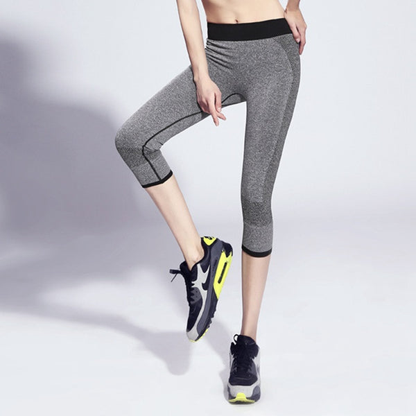 Women Breathable Quick Dry Sports Pants Leggings Workout Fitness Elastic Capris Gym Mid Waist Leggings Running Trousers Pants
