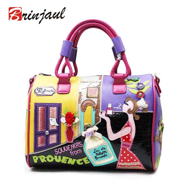 Brinjaul Cartoon Printing Solid Pu Handbags Women Cx069