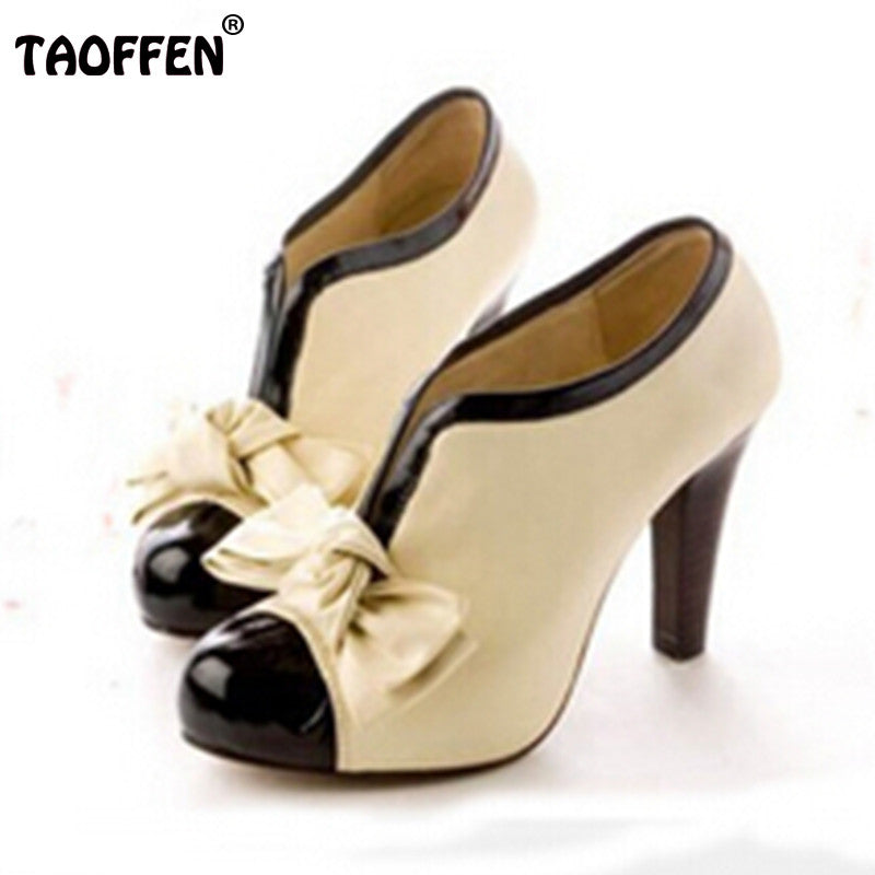 Women High Heel Shoes New Sexy Lady Beige Bow Vintage Bowknot Pumps  Platform Round Toe Ladies ...