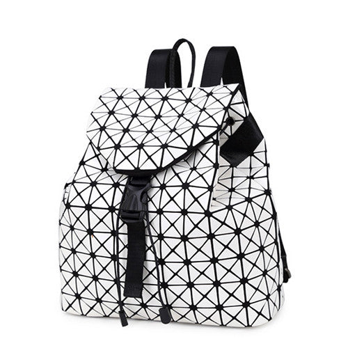 Women backpack 2016 geometric patchwork diamond lattice backpack famous brand drawstring bag mochila sac a dos