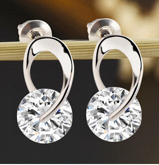 Women's Jewelry Gift Silver Plated Zircon Crystal Earring Eardrop Earbob Ear Studs Women Pendientes Earings