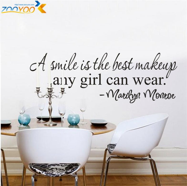 a smile is the best makeup home decor creative wall decals zooyoo8129 decorative adesivo de parede removable vinyl wall stickers