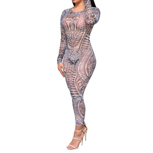 Adogirl Tribal Tattoo Print Mesh Sheer Jumpsuit Women Summer Sexy See Through Backless Bodycon Long Rompers Combinaison Femme