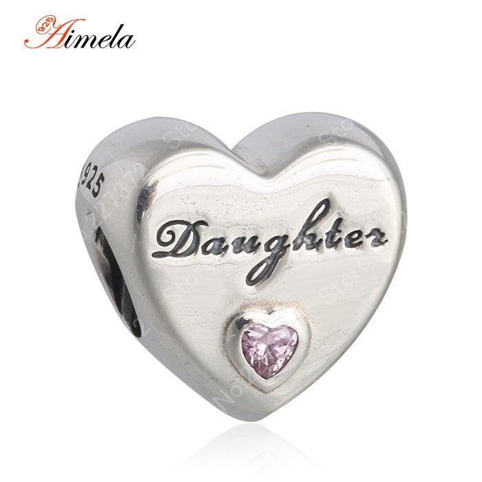 AIMELA Solid 925 Sterling Silver Alphabet Letters Daughter Love Heart Charm Beads For Jewelry Making Fit Pandora Bracelets DIY