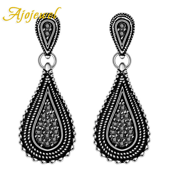 Ajojewel Vintage Tin Alloy Crystal Stud Earrings Women Fse012