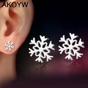 Akoyw Romantic Silver Plated Crystal Stud Earrings Women 2323