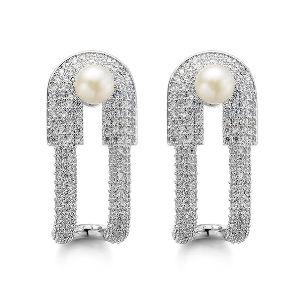 Allencoco Trendy Lead-tin Alloy Pearl Stud Earrings Women 208111002
