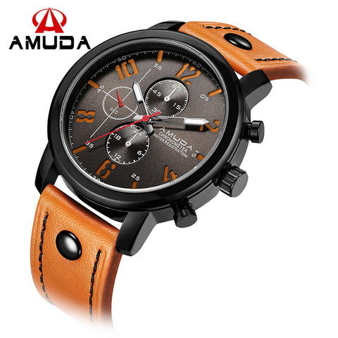 Amuda Leather Quartz Alloy Quartz Wristwatches Men Fashion Wach
