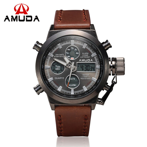 Amuda Leather Quartz Alloy Quartz Wristwatches Men Military Watch