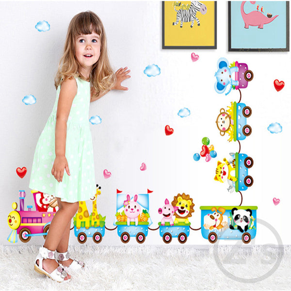 Animal Train wall sticker child role of children's diy adhesive art mural picture poster removable vinyl wallpaper
