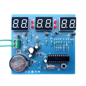AT89C2051 Six digital clock kit singlechip 6 LED clock electronic production of bulk DIY (not including battery)