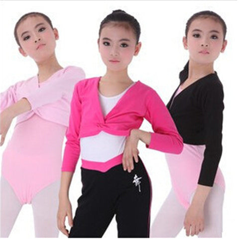Autumn And Winter Girl Ballet Gymnastic Leotard Long Sleeve Top Coat Kids Dance Clothing Black Rose Pink WDQ017