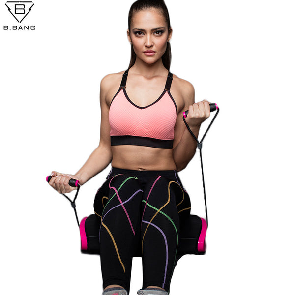B.BANG Women Sports Bra for Running Gym Yoga Shakeproof Sportswear Push Up Seamless Underwear with Padding Tops Bras For Woman
