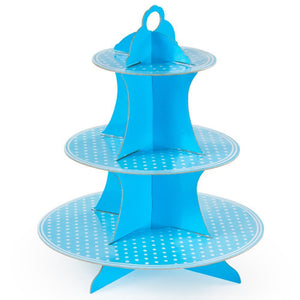 Baby birthday party blue three layer paper cupcake cake stand dessert candy stand party decoration supply favors