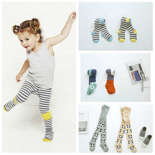 Baby Girls Cotton Tights Kid Stripe Panda Stockings Toddler Print Tights Pants Boys Girl Pantyhose 2016 Autumn Winter