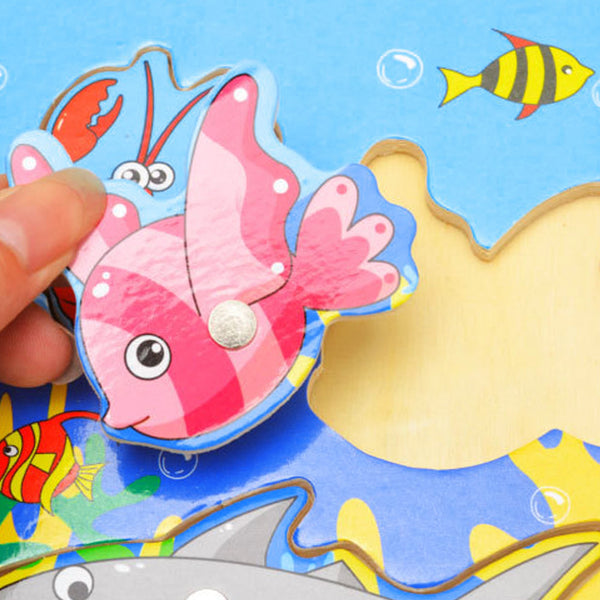 Baby Wooden Cartoon Magnetic Fishing Game Jigsaw Puzzle Board 3D Jigsaw Puzzle Children Education Toy juguetes educativos