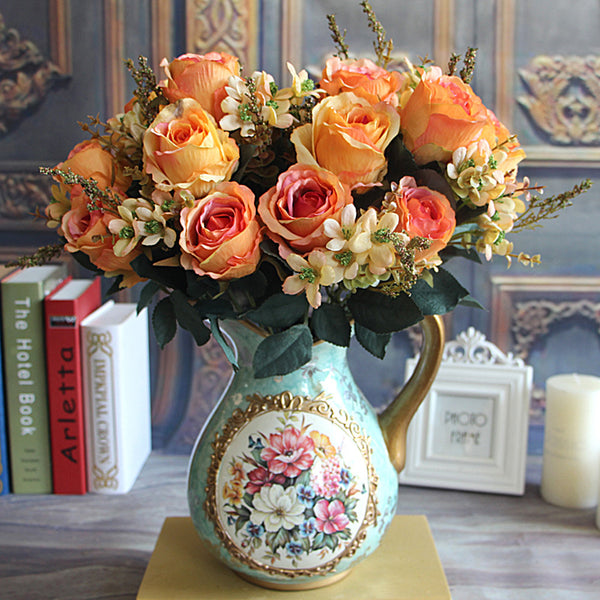 Beautiful Charming Delightful Palace Earl Rose Multi Color Artificial Flowers Wedding Home Decoration Flores Artificiales