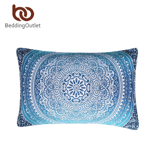 BeddingOutlet Luxury Boho Bedding Set Crystal Arrays Duvet Quilt Cover Blue Printed Bedspread 3Pcs New Arrivals