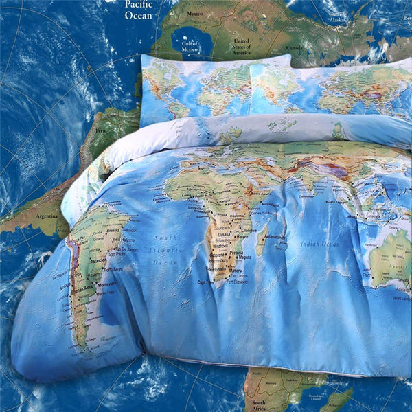 BeddingOutlet World Map Bedding Set Vivid Printed Blue Bed Cover Twill Cozy Home Textiles Multi Sizes 3pcs