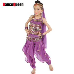 Belly Dance Girls (Top+Genie Pants+Waist Chain+Veil+Headwear+Bracelet) Bollywood Dance Costumes Children Indian Clothing Dresses