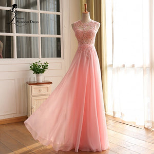 BEPEITHY Vestido De Festa Formal Evening Dress Gown 2016 Pink Lace Chiffon Women Weddings Party Dress Real Image Prom Gown